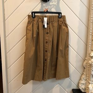 J Crew button down khaki midi skirt
